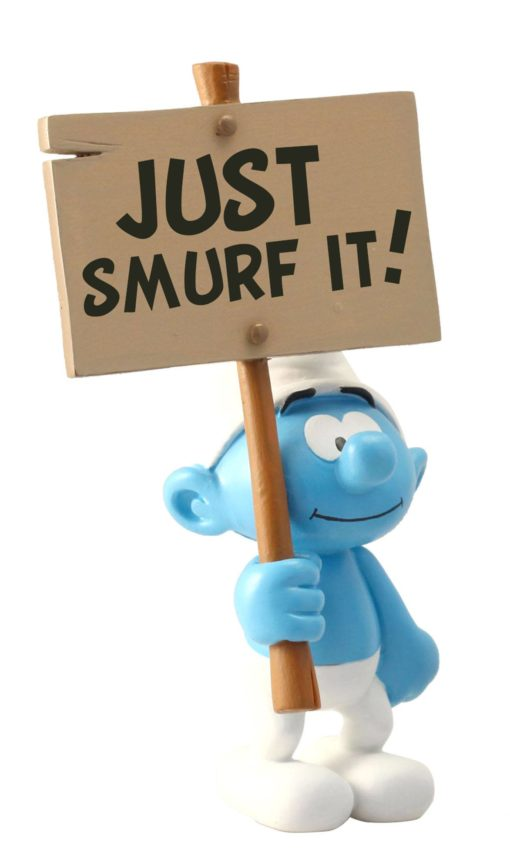 The Smurfs Collector Collection Statue Smurf wit a Sign Just Smurf It! 18 cm